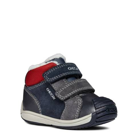 Geox Navy/Red Velcro Trainer