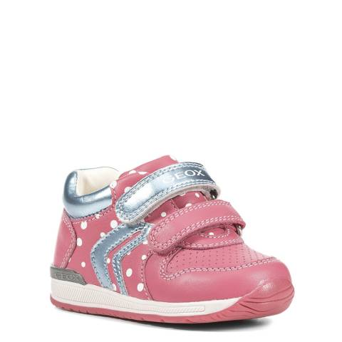 Geox Coral/Silver Velcro Trainer