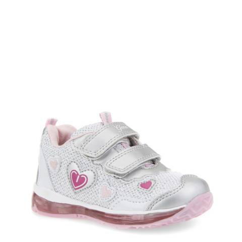 Geox Pink/Silver Heart Light Up Trainer