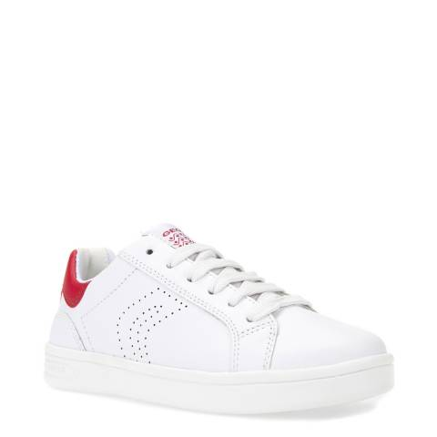 Geox White/Red Lace Up Trainer