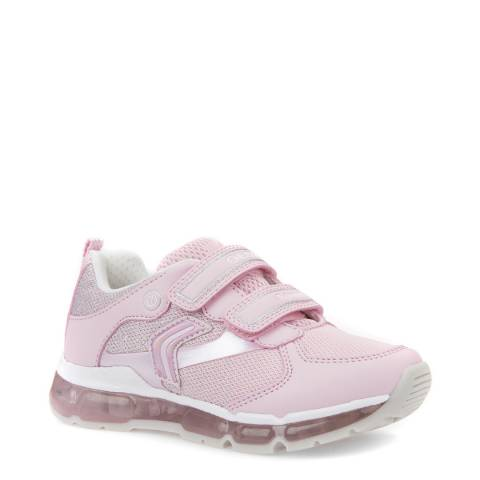 Geox Pink/White Velcro Light Up Trainer