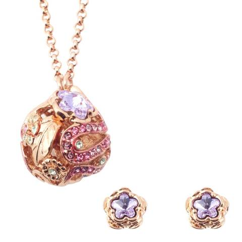 Bill Skinner Rose Gold Botanical Earring and Necklace Set