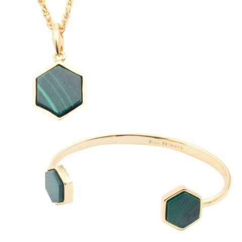 Bill Skinner Gold Malachite Hexagon Necklace and Bangle Set