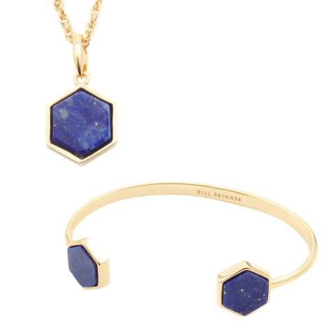 Bill Skinner Gold Lapis Hexagon Necklace and Bangle Set
