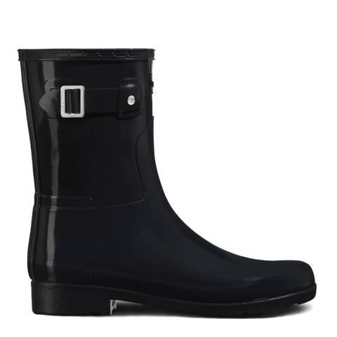 Hunter Black Gloss Refined Wellington Short Boots