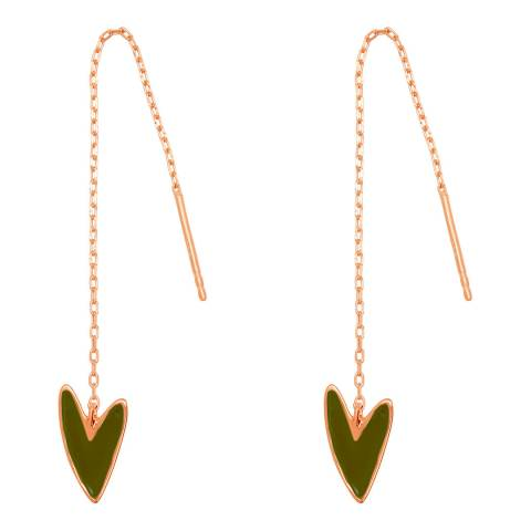 Tada & Toy Olive Green Rose Gold Make Up Earrings