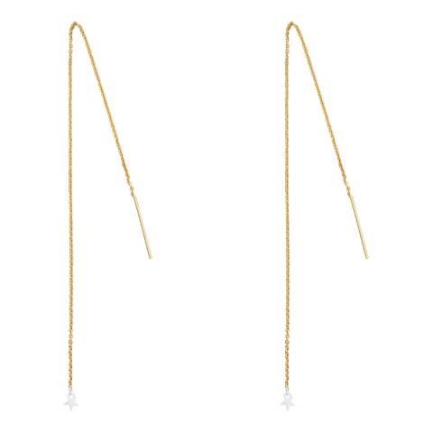 Tada & Toy Gold Long Star Charm Earrings
