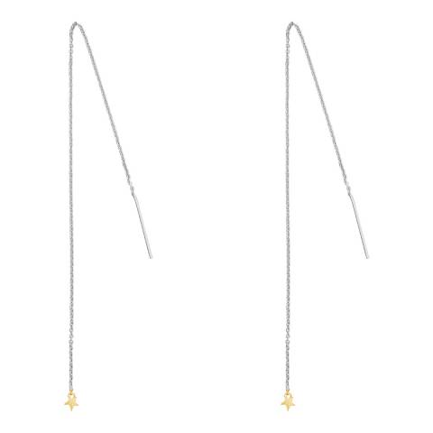 Tada & Toy Silver Long Star Charm Earrings