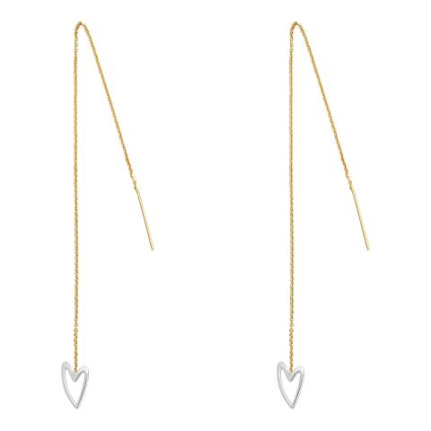 Tada & Toy Gold White Heart Needle and Thread Earrings