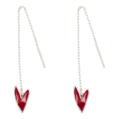 Tada & Toy Burgundy Silver Make Up Needle Thread Earrings