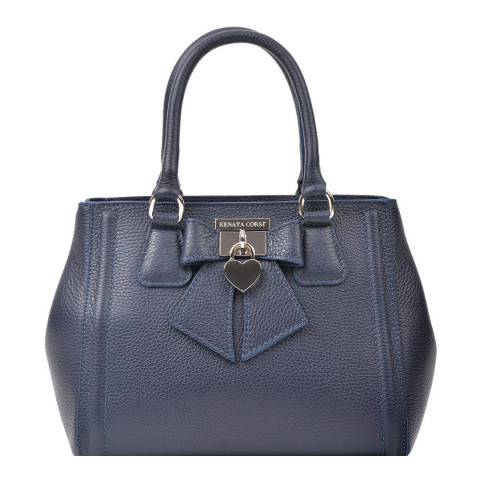 Renata Corsi Navy Leather Tote Bag