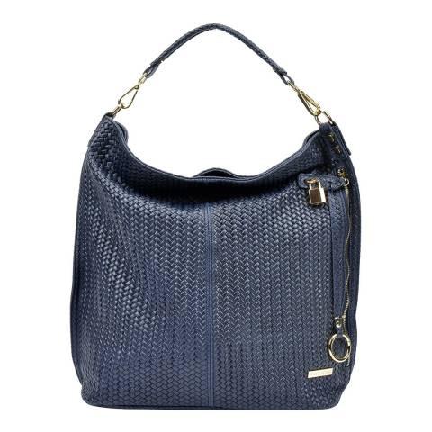 Renata Corsi Navy Leather Hobo Bag