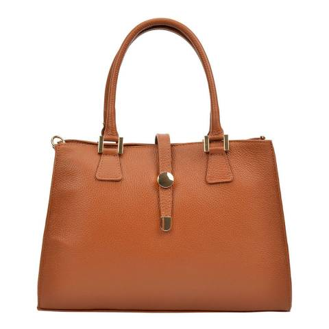 Renata Corsi Cognac Leather Tote Bag