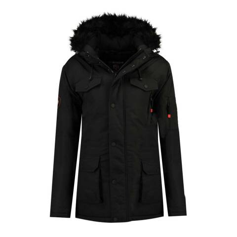 Geographical Norway Womens Black Baligraph Short Parka Jacket