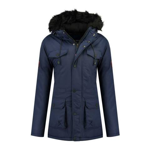 Geographical Norway Womens Navy Baligraph Short Parka Jacket