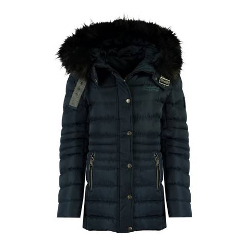 Geographical Norway Womens Navy Daleo Quilted Hood Jacket