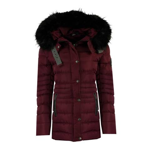 Geographical Norway Womens Burgundy Daleo Quilted Hood Jacket