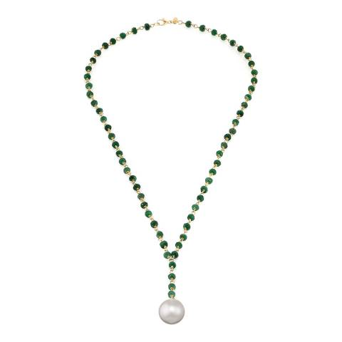 Liv Oliver 18K Gold Plated Emerald & Pearl Y Necklace