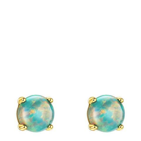 Liv Oliver 18K Gold Green Opal Stud Earrings