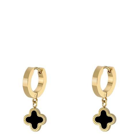 Liv Oliver 18K Gold Black Clover Huggie Drop Earrings