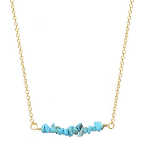 Liv Oliver 18K Gold Multi Turquoise Bar Necklace