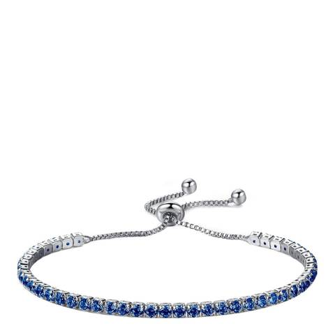 Liv Oliver Silver Adjustable Blue Cz Bracelet