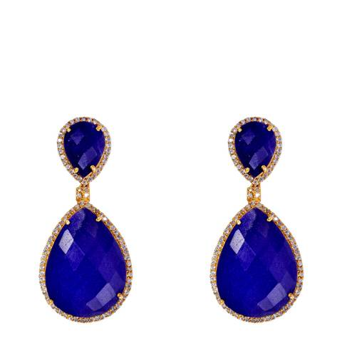 Liv Oliver 18K Gold Double Pear Sapphire Embelished Drop Earrings
