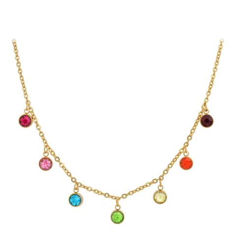 Liv Oliver 18K Gold Multi Gemstone Drape Necklace