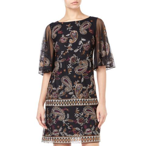 Adrianna Papell Black/Multi Paisley Embroidered Shift Dress
