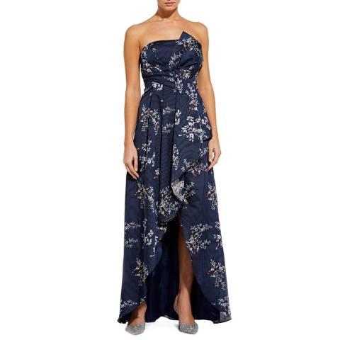 Aidan Mattox Blue Multi Strapless Long Dress