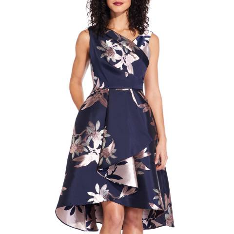 Adrianna Papell Navy/Blush Short Jacquard Dress