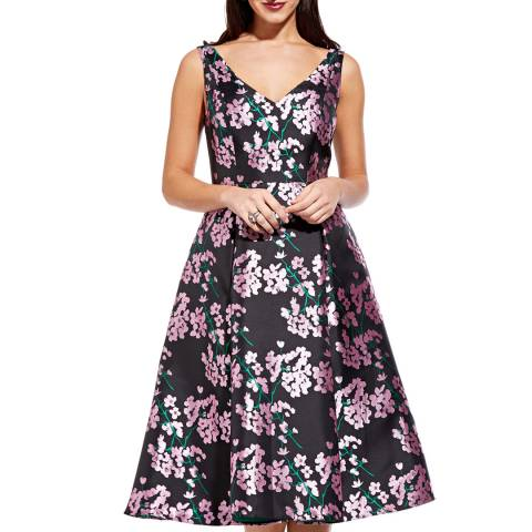 Adrianna Papell Pink/Multi Flower Flared Dress