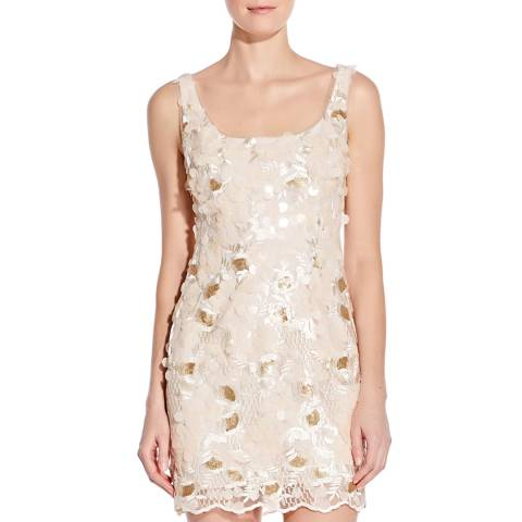Aidan Mattox Champagne Embroidered Sequin Dress