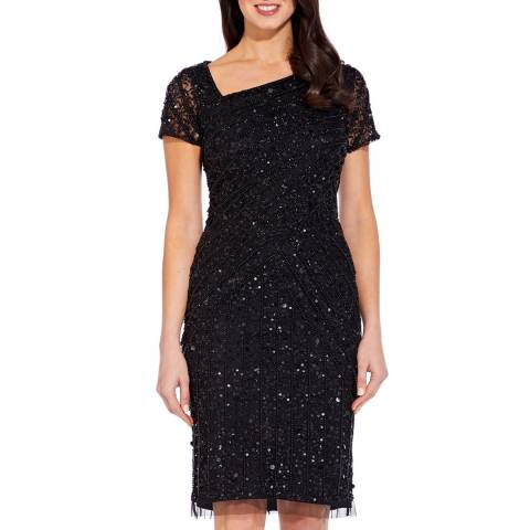 Adrianna Papell Black Beaded Short Dress