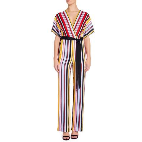 Aidan Mattox Marigold/Multi Striped Jumpsuit