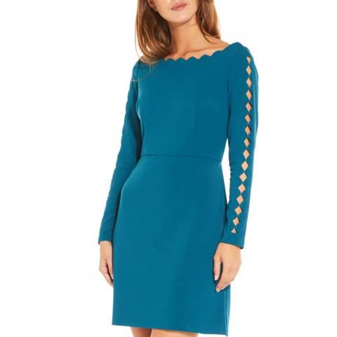 Adrianna Papell Deep Teal Scallop A-Line Dress