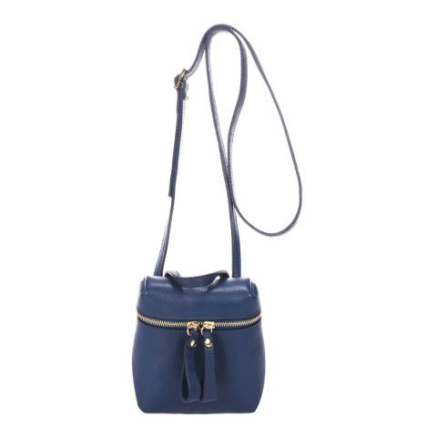 Markese Blue Leather Top Handle Bag