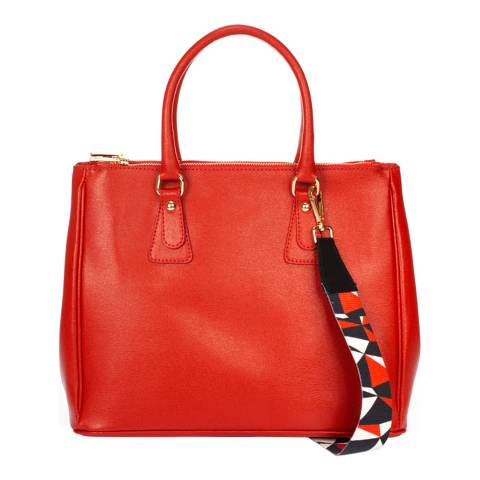 Markese Red Leather Double Handle Bag