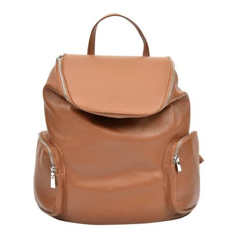 Luisa Vannini Cognac Leather Backpack