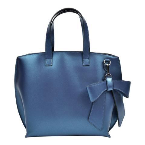 Luisa Vannini Blue Leather Top Handle Bag