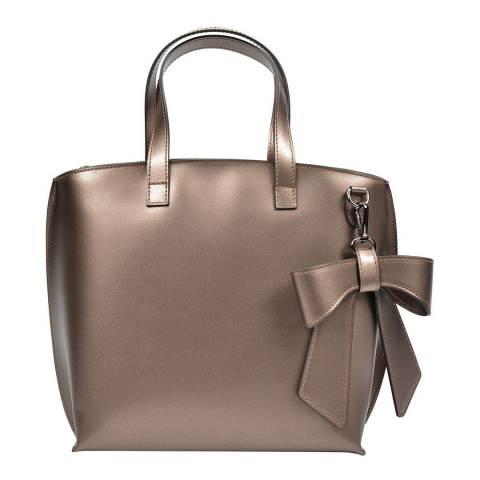 Luisa Vannini Bronze Leather Top Handle Bag