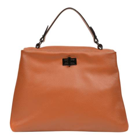 Luisa Vannini Cognac Leather Top Handle Bag