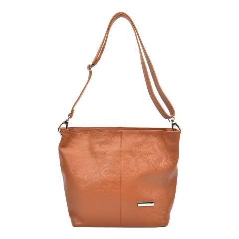 Luisa Vannini Cognac Leather Shoulder Bag