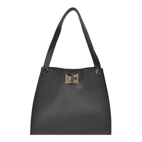 Luisa Vannini Black Leather Shoulder Bag