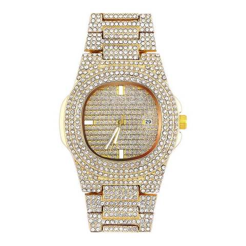 Stephen Oliver 18K Gold Plated Cubic Zirconia Watch