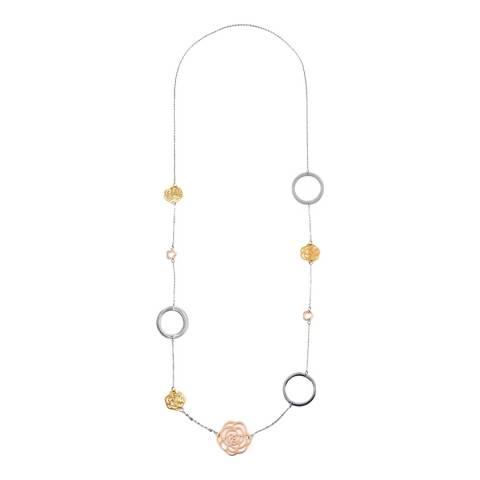 Chloe by Liv Oliver 18K Tri Color Multi Rose & Clover Necklace