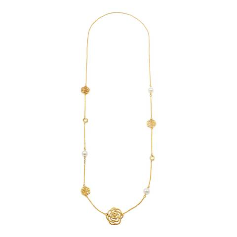 Liv Oliver 18K Gold Plated Multi Flower & Pearl Necklace
