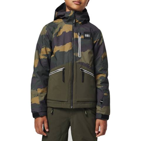 O'Neill Boys Green Aop Textured Ski Jacket