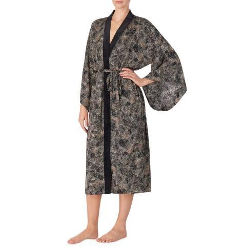 Donna Karan Black Print Long Wrap Robe