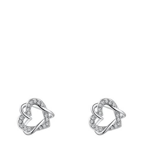 Ma Petite Amie Platinum Plated Double Heart Earrings